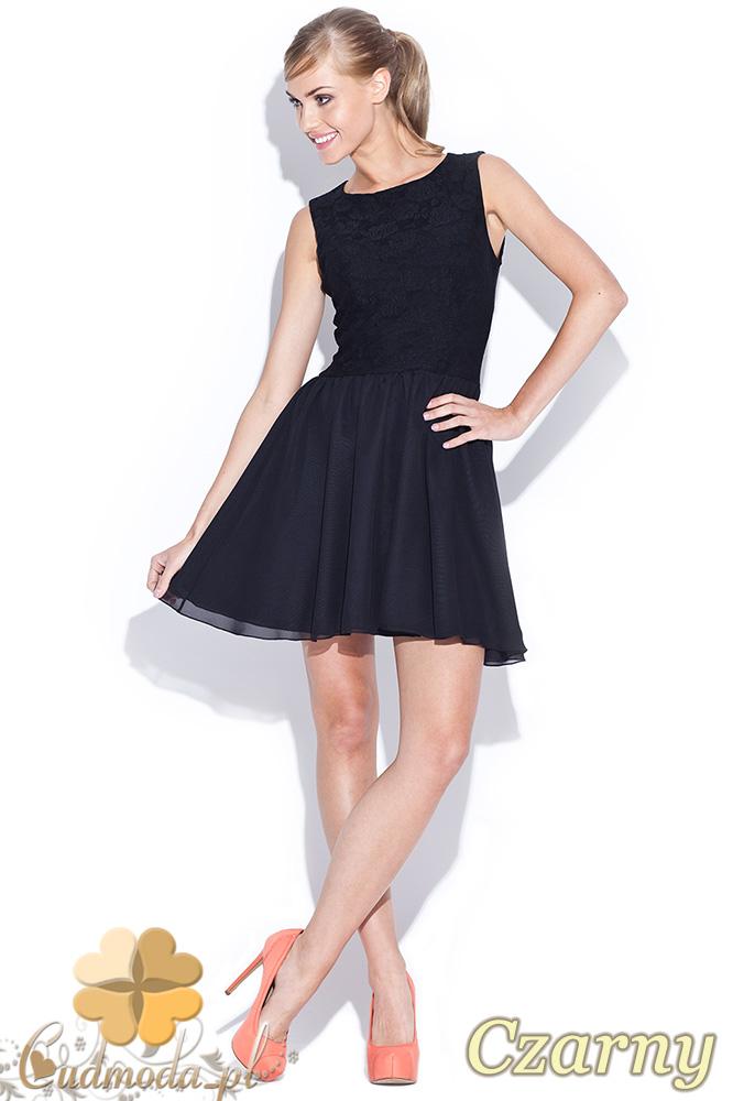 CM0509 FIGL M112 Koronkowo-tiulowa sukienka bez rękawów z podszewką - czarna