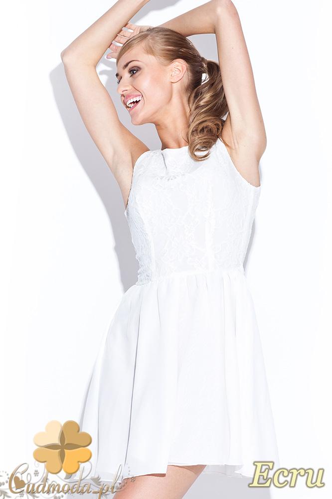 CM0509 FIGL M112 Koronkowo-tiulowa sukienka bez rękawów z podszewką - ecru