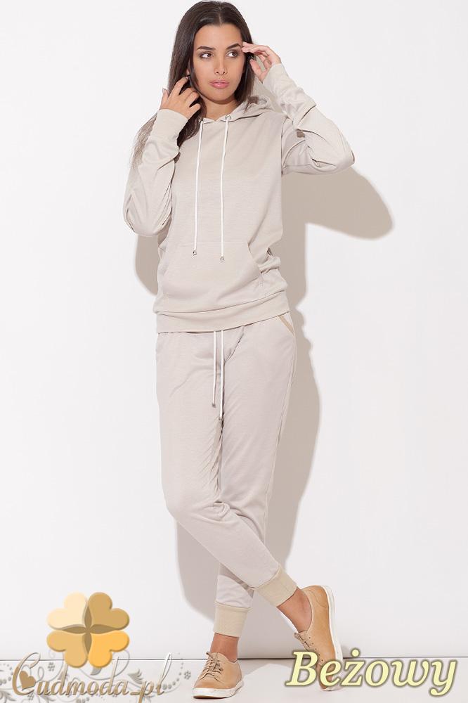 CM0513 KATRUS K095 Dresowe spodnie damskie z bawełny - beżowe