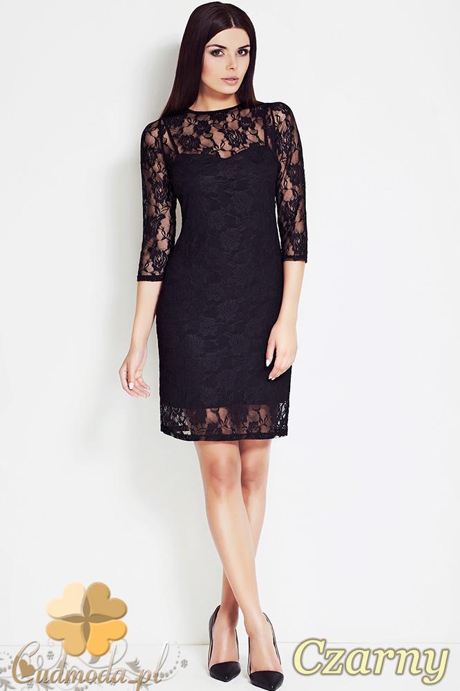 CM0618 AWAMA S17 Koronkowa sukienka z halką - czarna