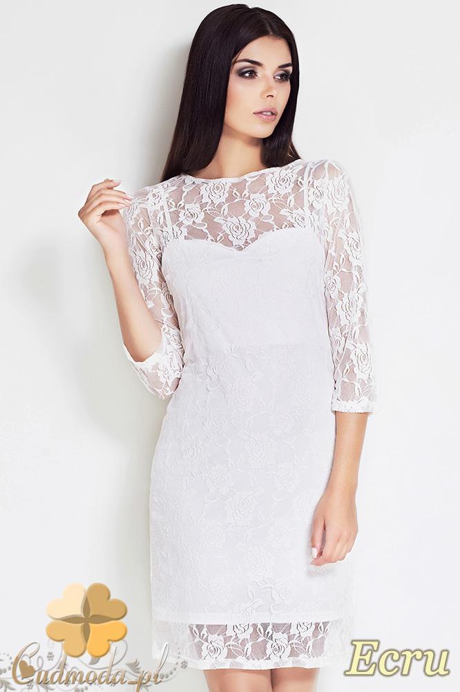 CM0618 AWAMA S17 Koronkowa sukienka z halką - ecru