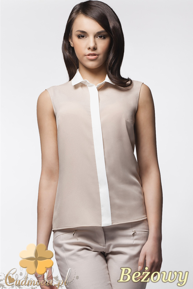 CM0629 AWAMA A23 Koszula damska bez rękawków z krytymi guzikami - beżowa