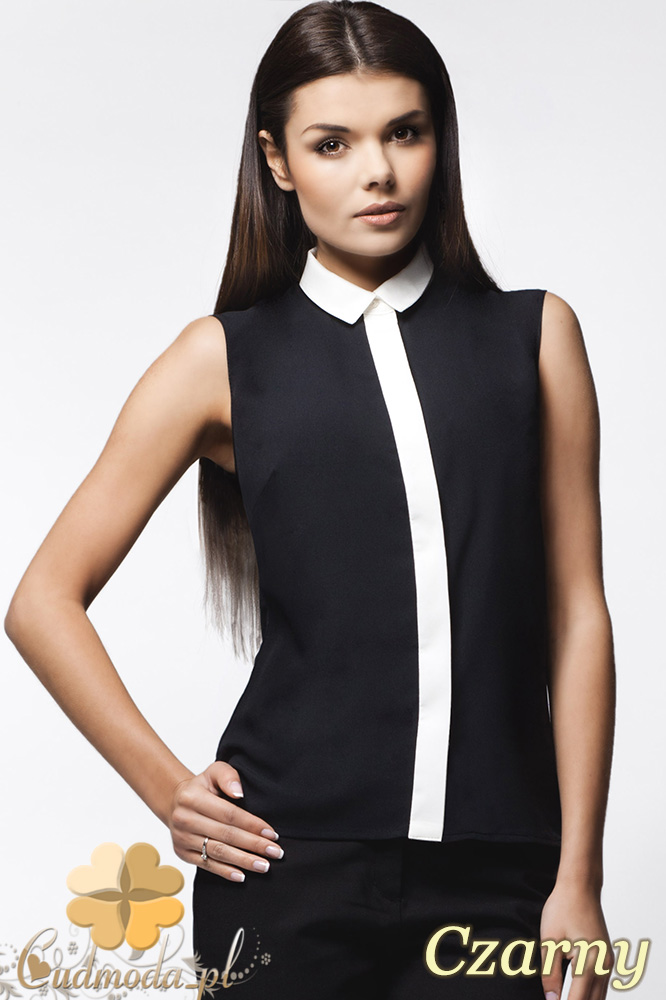 CM0629 AWAMA A23 Koszula damska bez rękawków z krytymi guzikami - czarna