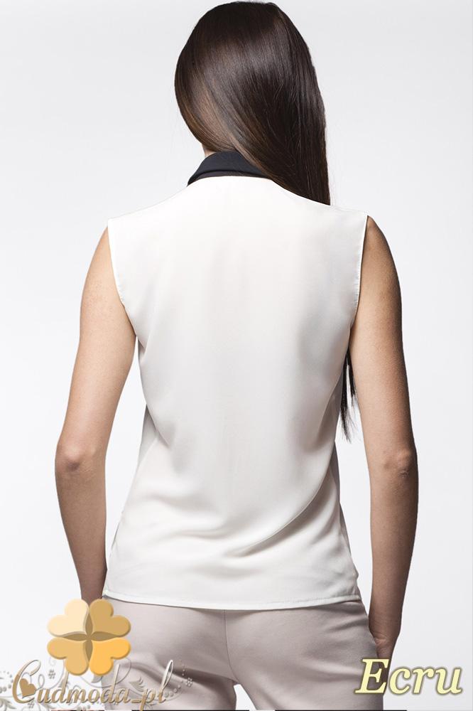 CM0629 AWAMA A23 Koszula damska bez rękawków z krytymi guzikami - ecru