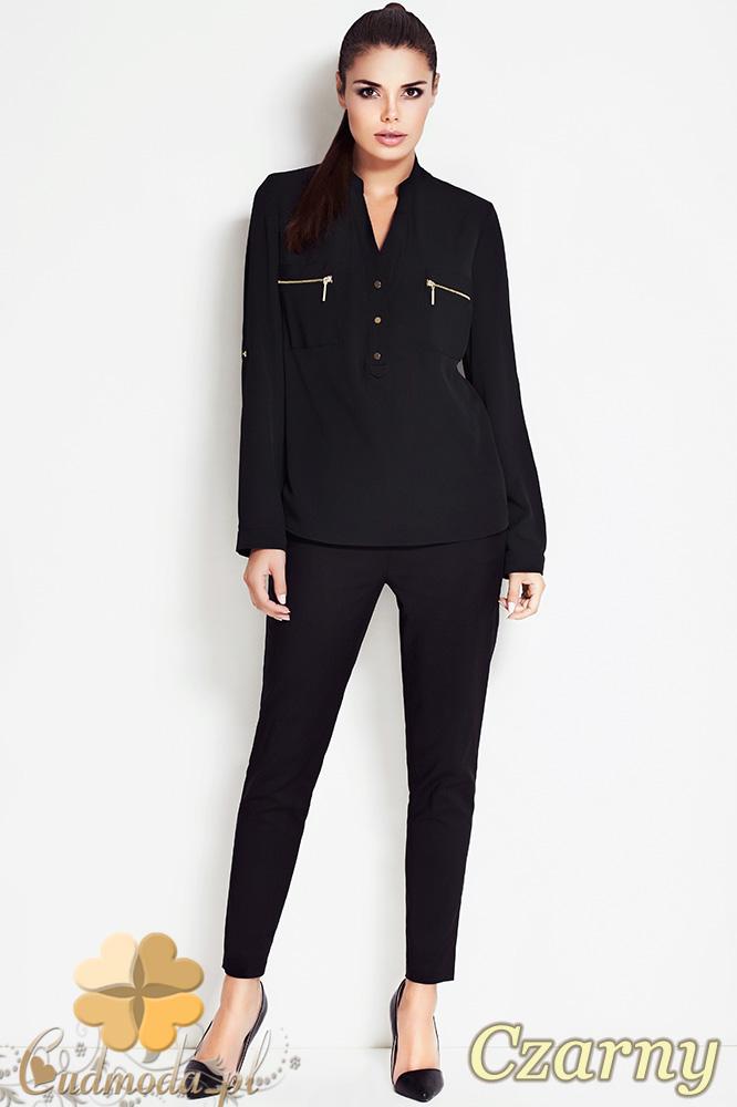 CM0631 AWAMA A51 Kobieca bluzka koszula ze stójką i kieszonkami - czarna