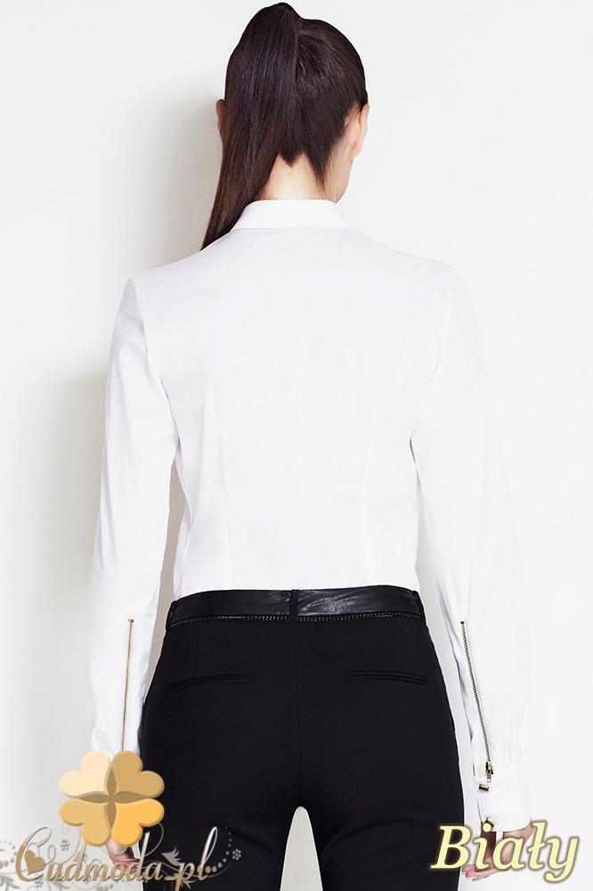 CM0633 AWAMA A52 Koszula damska ze złotymi zamkami w mankietach - biała