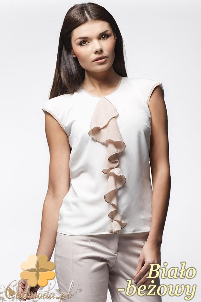 CM0636 AWAMA A25 Szyfonowa bluzka damska z żabotem bez rękawów - biało - beżowa