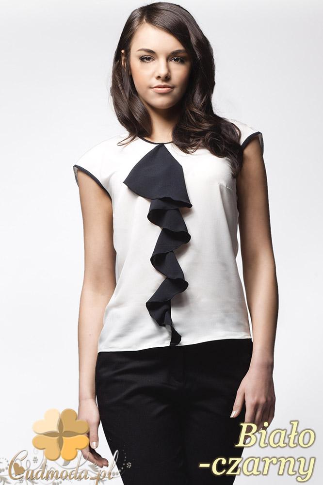 CM0636 AWAMA A25 Szyfonowa bluzka damska z żabotem bez rękawów - biało - czarna