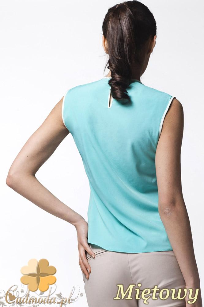 CM0638 AWAMA A24 Kobieca bluzeczka z podwójną falbanką bez rękawów - miętowa