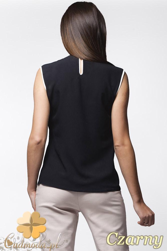 CM0638 AWAMA A24 Kobieca bluzeczka z podwójną falbanką bez rękawów - czarna