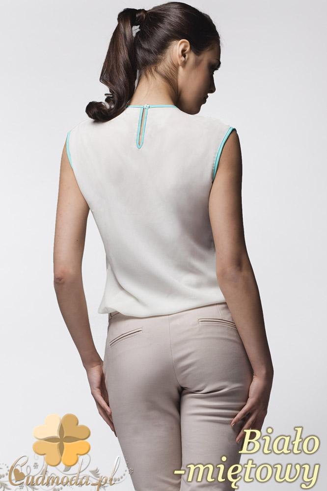 CM0638 AWAMA A24 Kobieca bluzeczka z podwójną falbanką bez rękawów - biało - miętowa