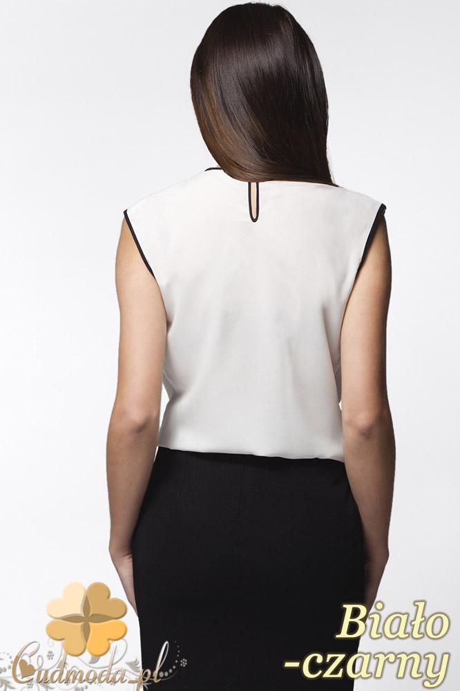 CM0638 AWAMA A24 Kobieca bluzeczka z podwójną falbanką bez rękawów - biało - czarna