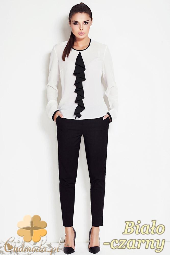 CM0639 AWAMA A47 Bluzka damska z żabotem i długimi rękawami - biało czarna