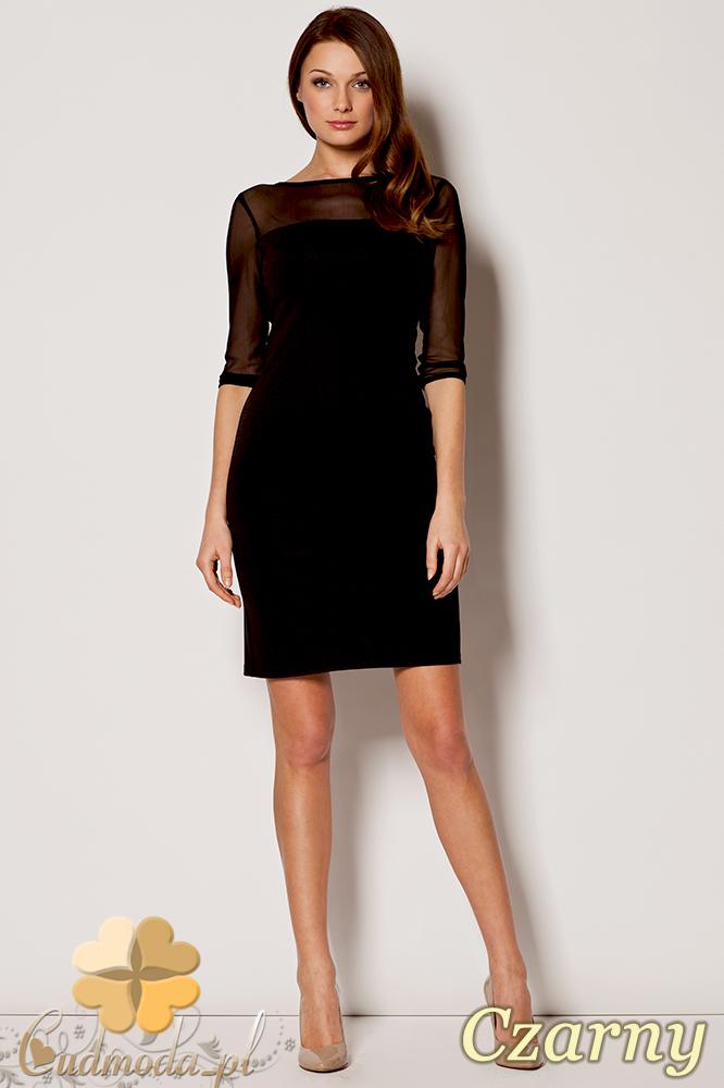 CM0641 FIGL M237 Sukienka mini z tiulowym dekoltem i rękawami - czarna