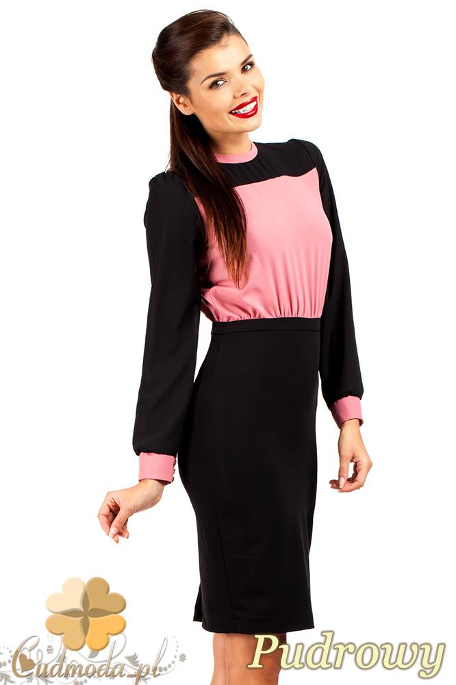 CM0374 Elegancka sukienka z dwukolorowego szyfonu - pudrowa
