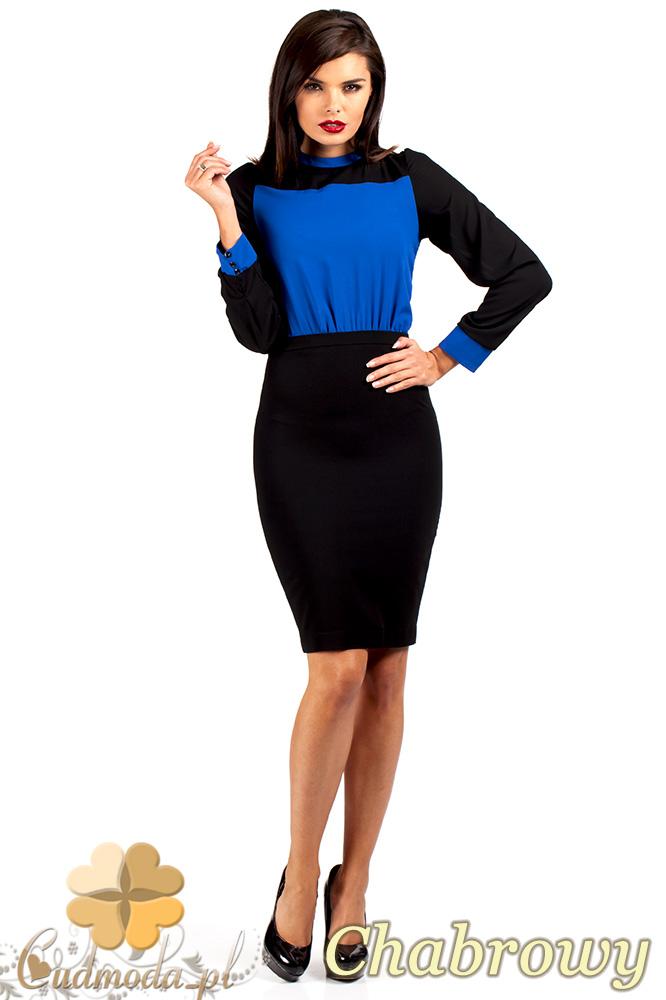 CM0374 Elegancka sukienka z dwukolorowego szyfonu - chabrowa