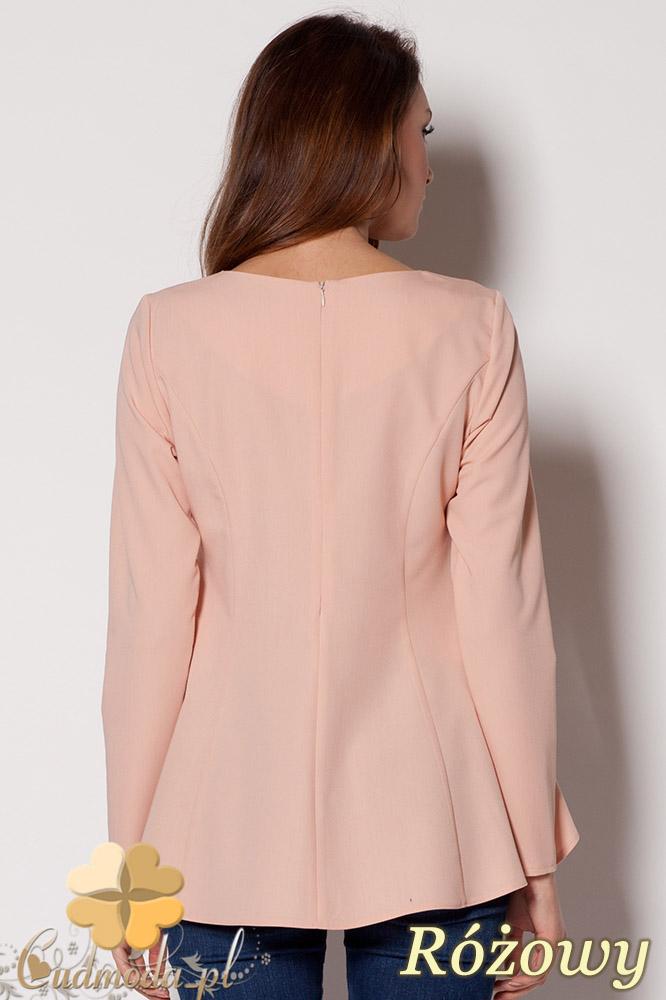 CM0648 FIGL M250 Asymetryczna rozkloszowana bluzka damska - różowy