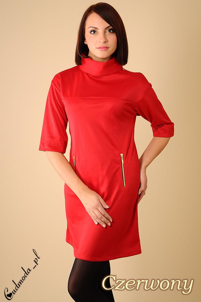 WYCOFANY Tunika - Sukienka z golfem i zamkiem - czerwona