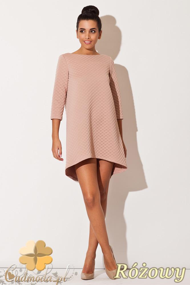 CM0671 KATRUS K134 Sukienka asymetryczna tunika z pikowanej tkani - różowa