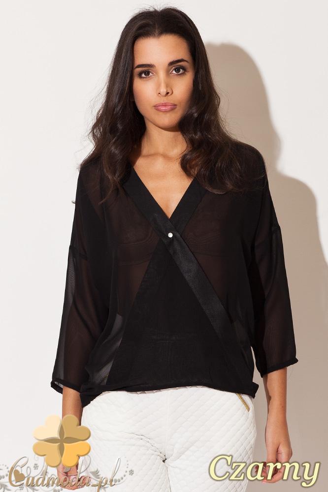 CM0676 KATRUS K138 Zwiewna kopertowa bluzka damska - czarny