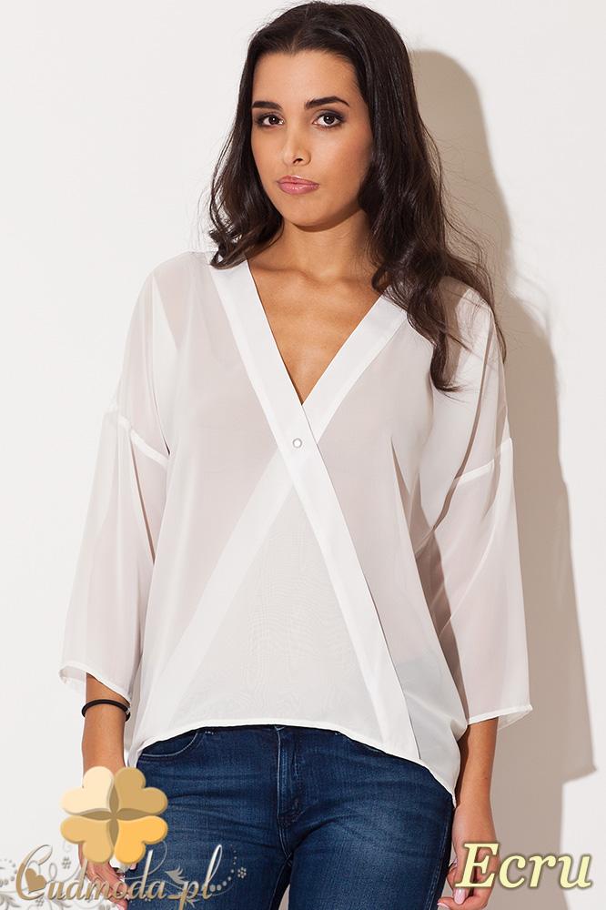 CM0676 KATRUS K138 Zwiewna kopertowa bluzka damska - ecru