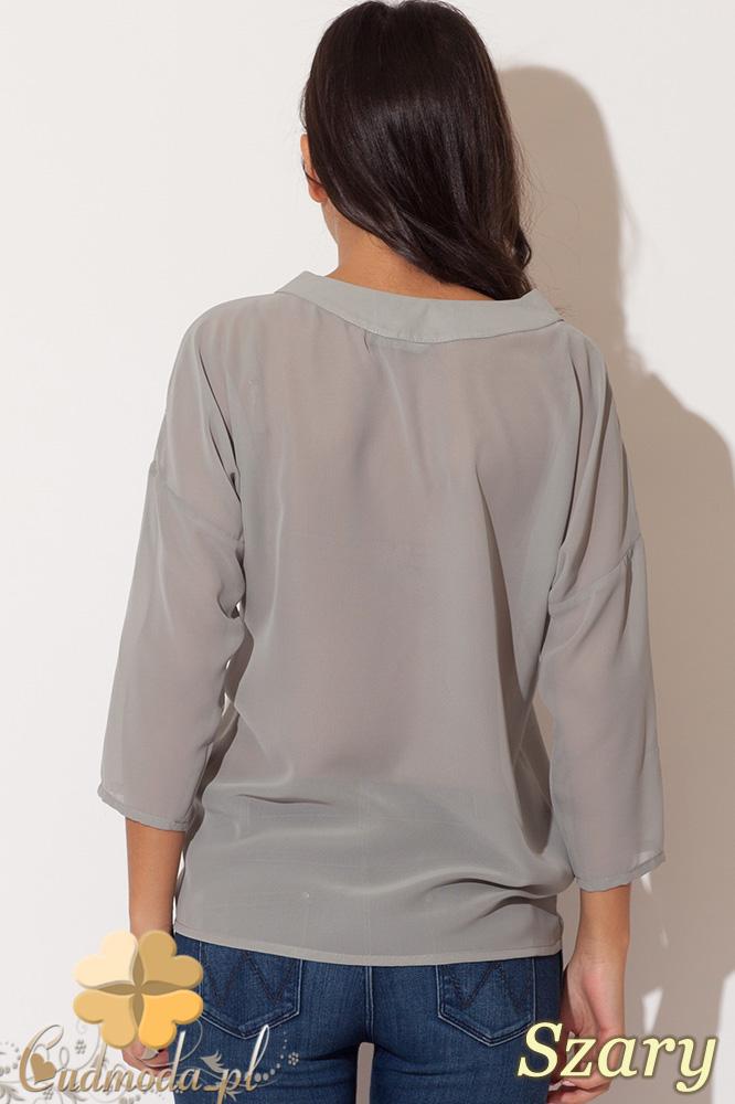 CM0676 KATRUS K138 Zwiewna kopertowa bluzka damska - szary