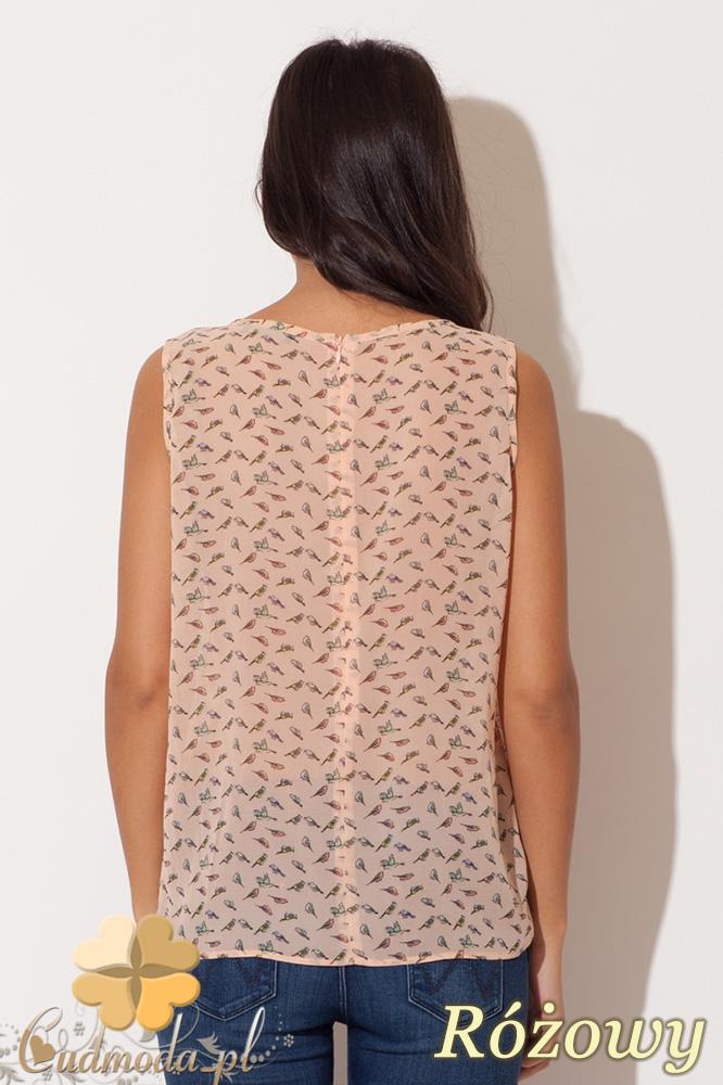 CM0677 KATRUS K139 Zwiewna bluzka damska z zakładka bez rękawów - różowa