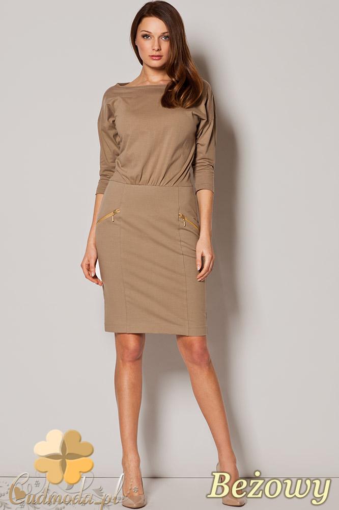 29bc231a46 CM0678 FIGL M252 Dzianinowa sukienka ze złotymi zamkami - beżowa ...