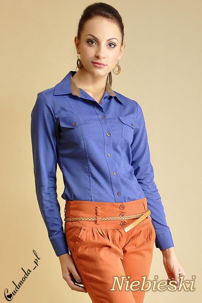 CM0001 Taliowana, kowbojska koszula z łatami - niebieska