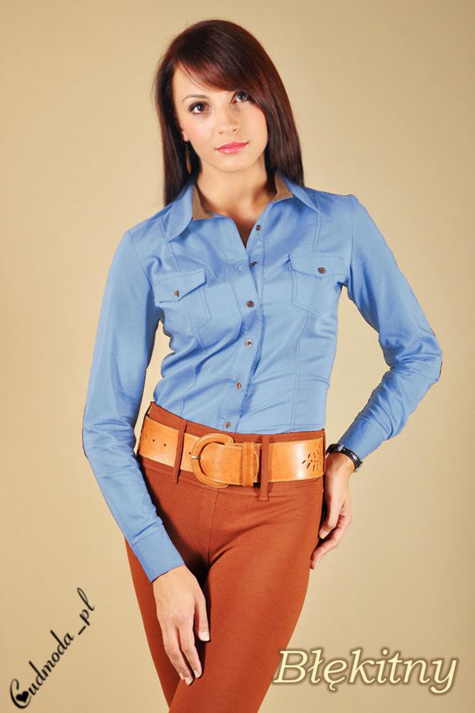 WYCOFANY Taliowana, kowbojska koszula z łatami - błękitna