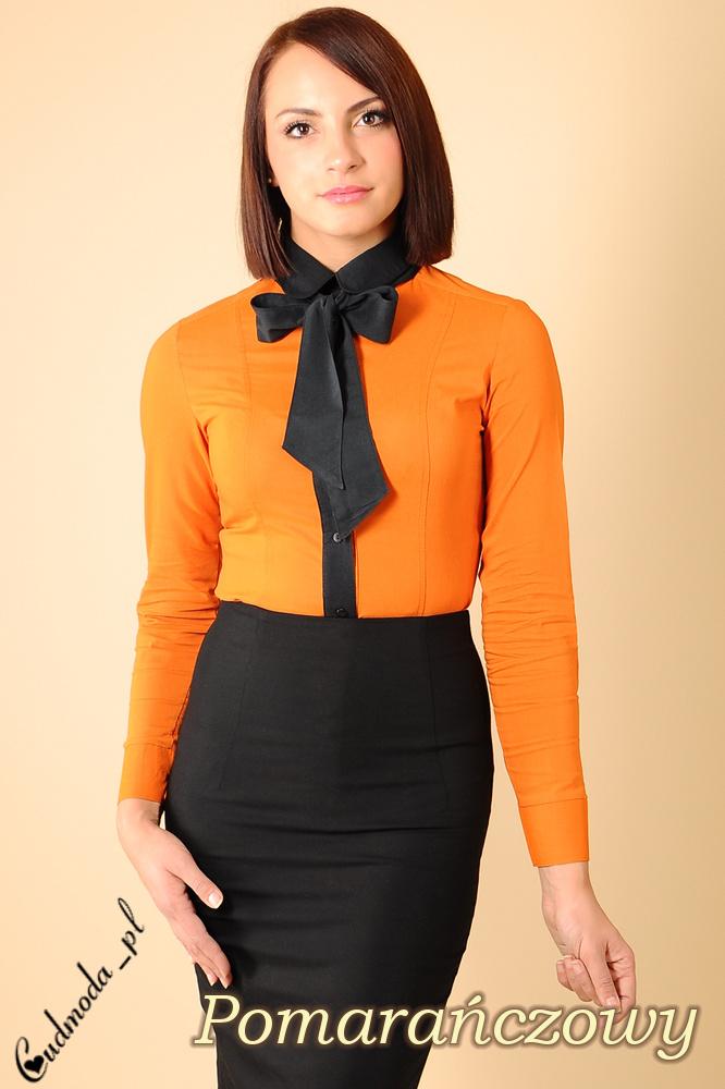 CM0005 Klasyczna, dwukolorowa damska koszula wieczorowa -  pomarańczowa