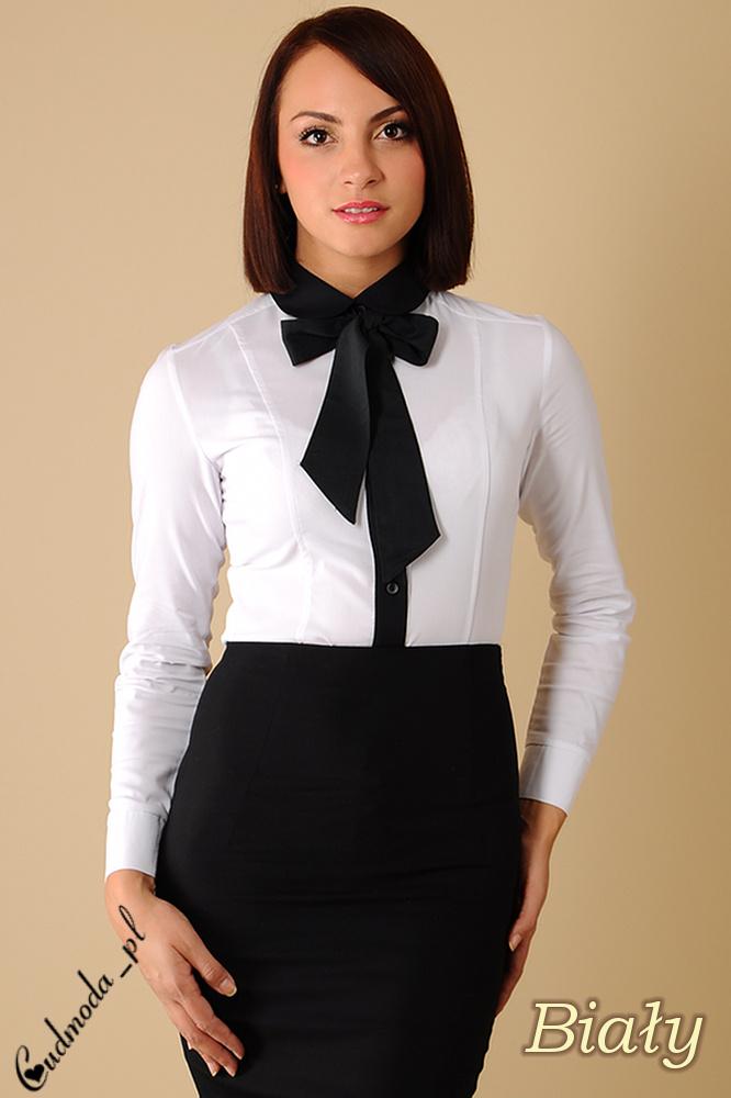 WYCOFANY Klasyczna, dwukolorowa damska koszula wieczorowa - biała