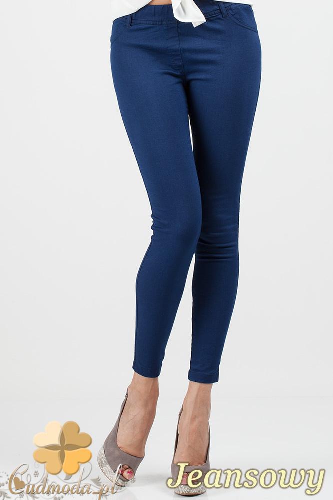 CM0685 Jeansowe legginsy spodnie rurki - jeansowe