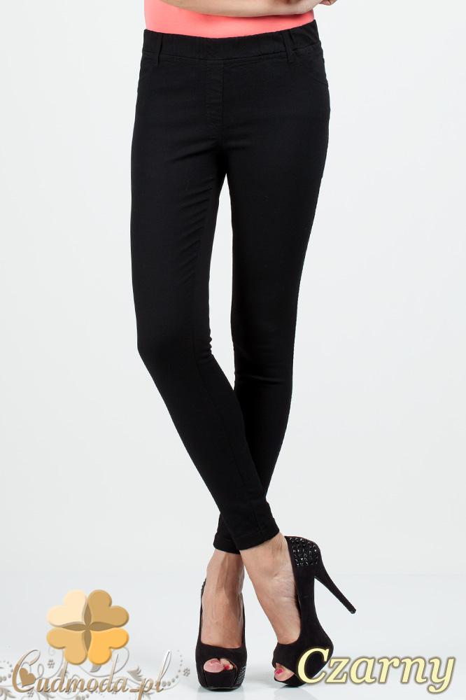 CM0685 Jeansowe legginsy spodnie rurki - czarne