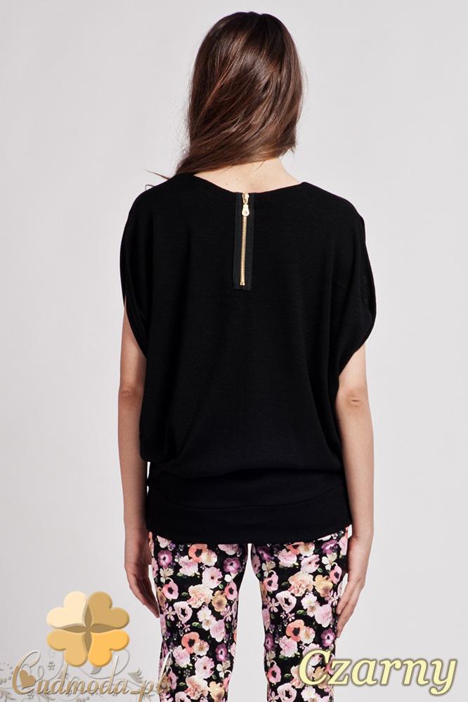 CM0723 LANTI BLU102 Kobieca bluzka kimono ze złotym zamkiem - czarna