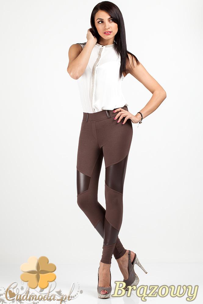 CM0687 Legginsy spodnie damskie ze wstawkami skóry na udach i piszczelach - brązowe