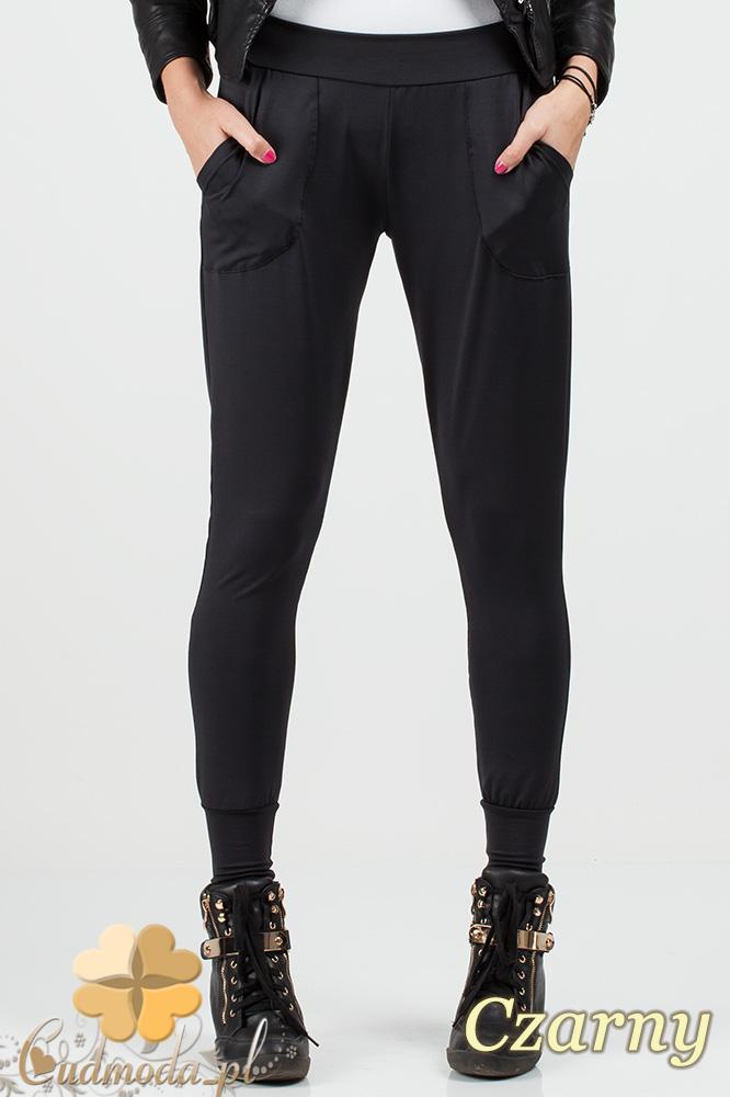 CM0689 Sportowe legginsy ze ściągaczami i  kieszeniami - czarne OUTLET