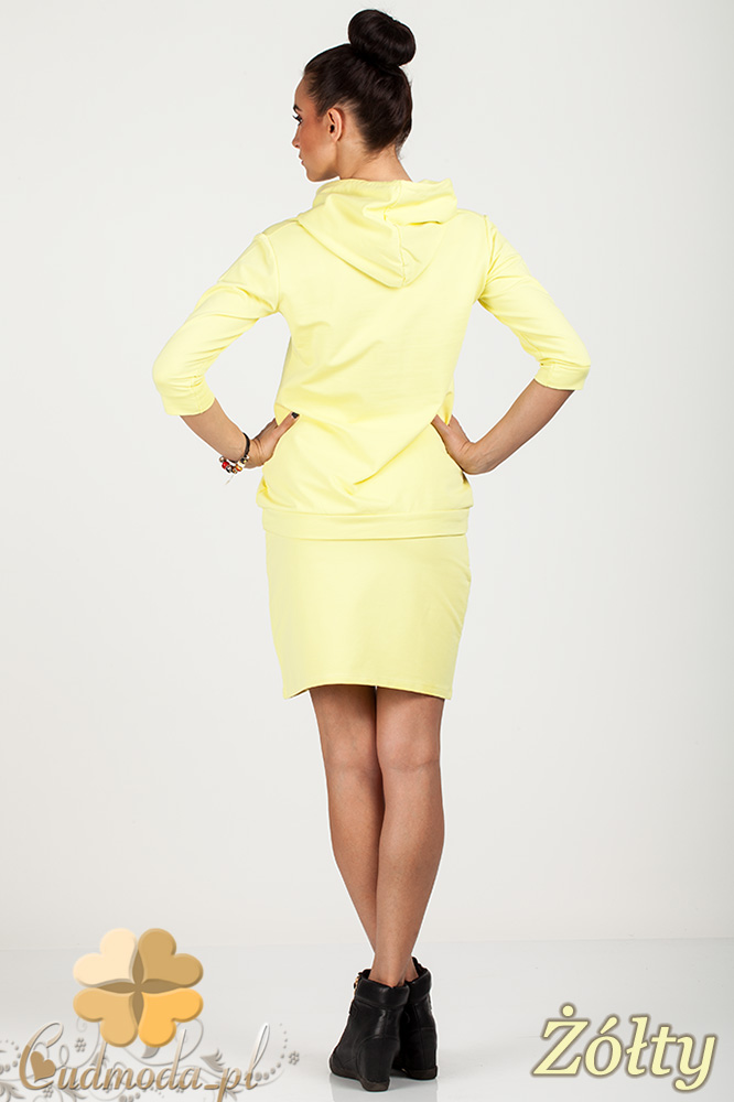 CM0725 Bluza damska z kapturem + spódniczka - żółta
