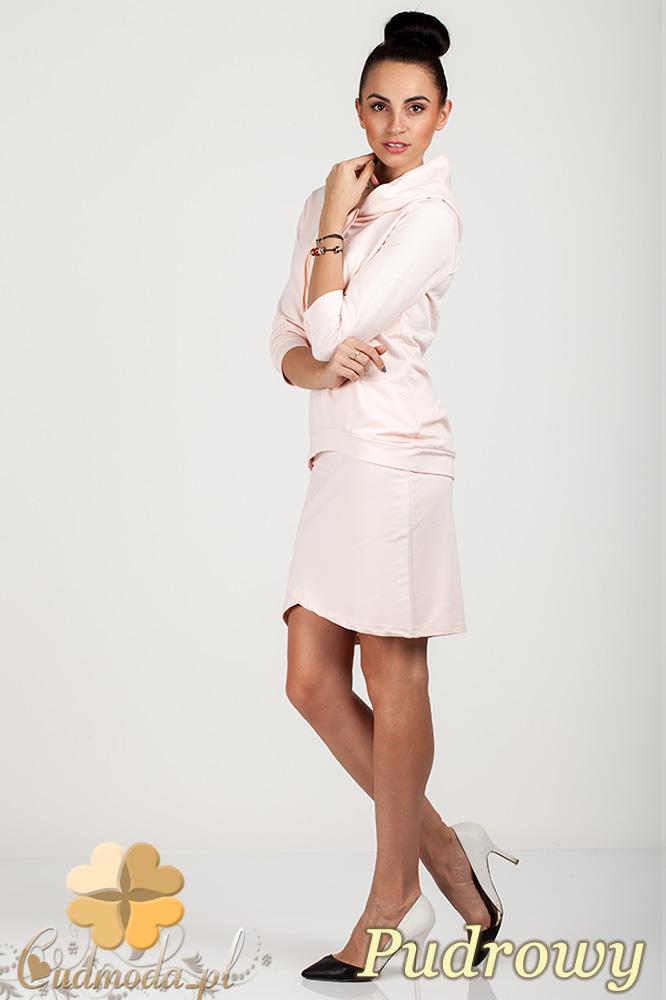 CM0725 Bluza damska z kapturem + spódniczka - pudrowa
