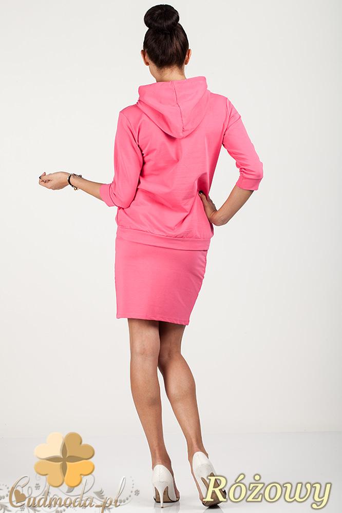 CM0725 Bluza damska z kapturem + spódniczka - różowa