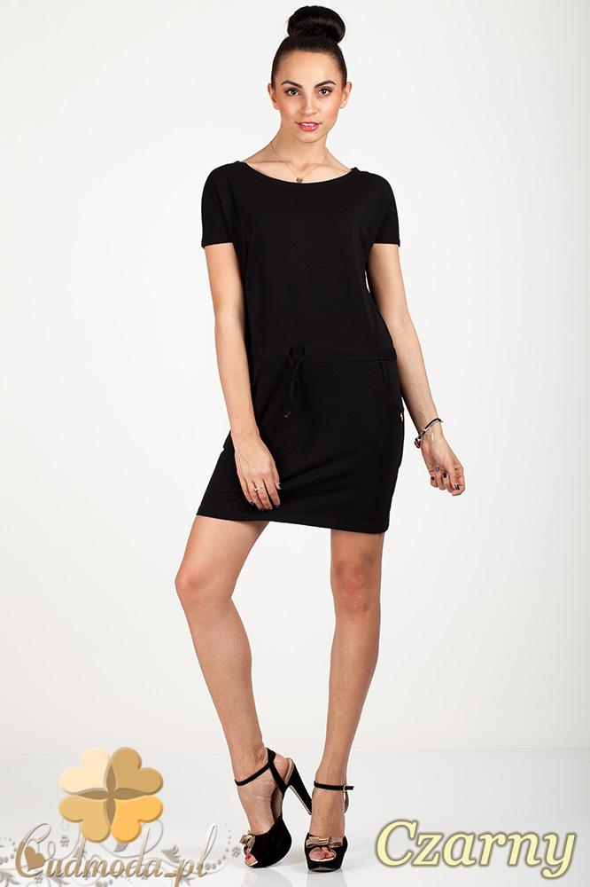 CM0726 Sportowa sukienka mini z kieszonkami i troczkami - czarna