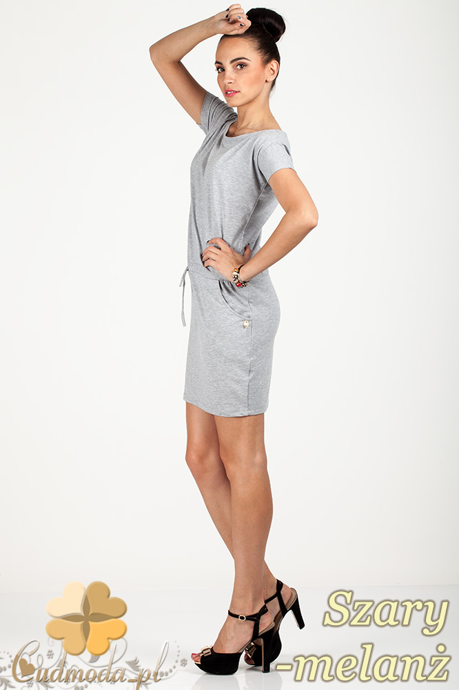 CM0726 Sportowa sukienka mini z kieszonkami i troczkami - szary melanż