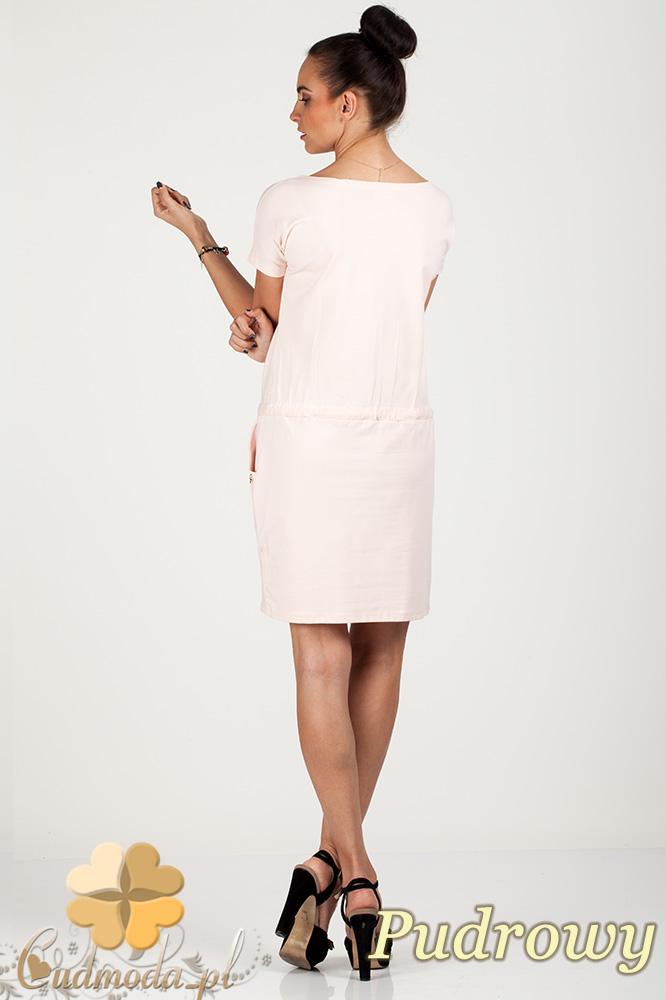 CM0726 Sportowa sukienka mini z kieszonkami i troczkami - pudrowa