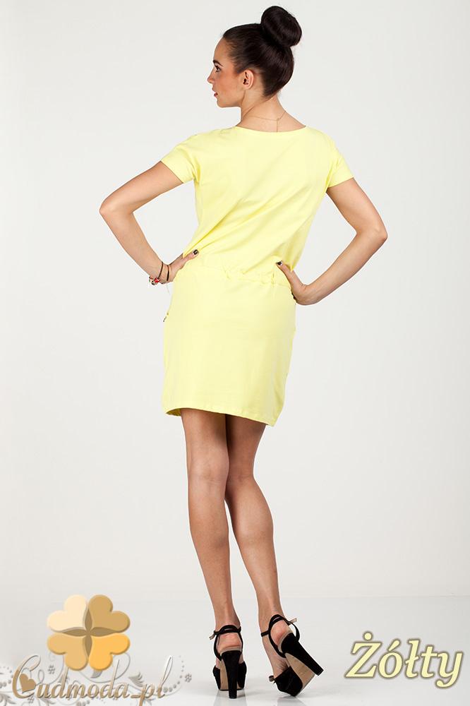 CM0726 Sportowa sukienka mini z kieszonkami i troczkami - żółty