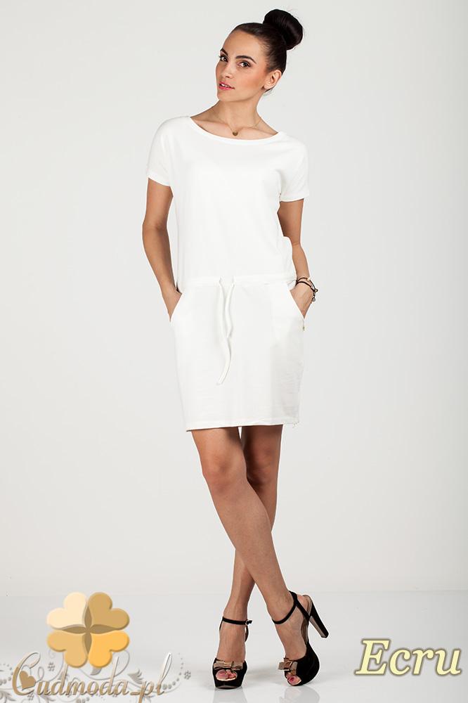 CM0726 Sportowa sukienka mini z kieszonkami i troczkami - ecru