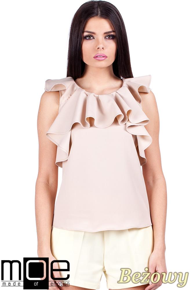 CM0666 Bluzka damska z falbanką na dekolcie i ramionach - beżowy OUTLET