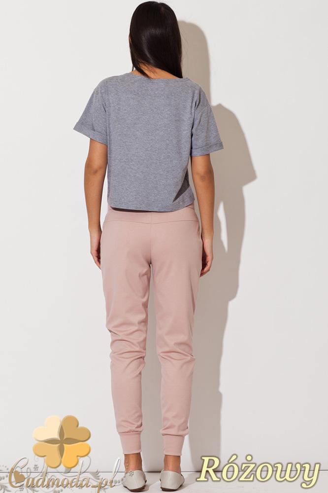 CM0743 KATRUS K153 Spodnie damskie ze ściągaczami i ozdobnym zamkiem - różowe