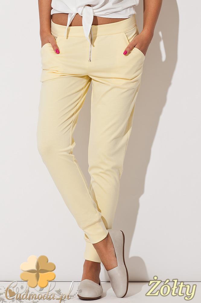 CM0743 KATRUS K153 Spodnie damskie ze ściągaczami i ozdobnym zamkiem - żółte