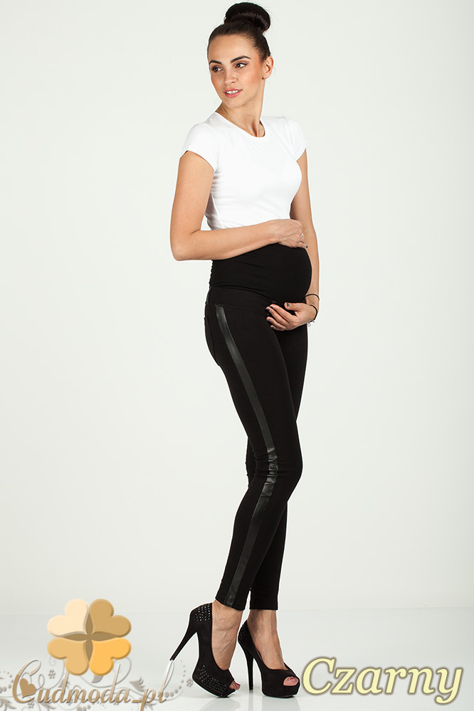 CM0731 Ciążowe legginsy z lampasem ze skóry - czarne
