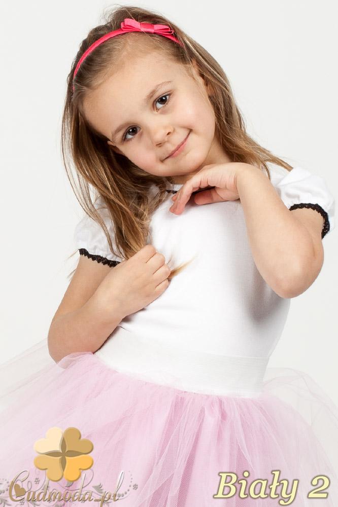 MA016 Gładka dziewczęca bluzeczka z koronką - biały 2